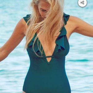 NWT Cupshe one piece turquoise suit